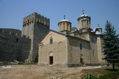 Serbian monastery. Monastery Manasija, XV century Despotovac city Serbia Stock Photo