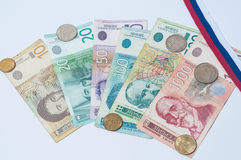 Serbian monetary with flag. royalty free stock photography