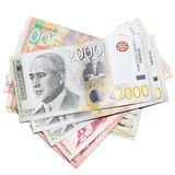 Serbian money. Various Serbian bank notes stacked in a pile stock image