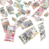 Serbian money. Serbian banknotes rain falling from the sky stock photos
