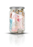 Serbian money in jar Stock Images