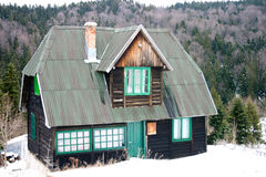 Serbian mountain ski house stock image