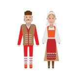 Serbian national costume. Illustration of national dress on white background Stock Photo