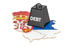 Serbian national debt or budget deficit, financial crisis concep. T, 3D Stock Photos