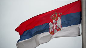 Serbian National Flag flapping in the strong wing, waving banner. stock footage