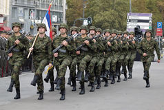 Serbian national flag unit in march stock photos
