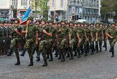 Serbian national flag unit in march-3 Stock Photos