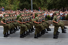 Serbian national flag unit in march-4 Stock Image