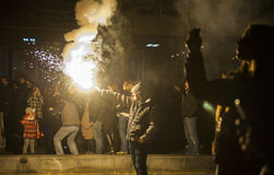 Serbian New years eve celebration in front of the St. Sava's tem royalty free stock photo