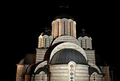 Serbian Orthodox Church. At night royalty free stock images