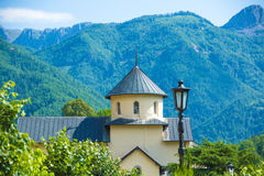 Serbian Orthodox monastery Moraca in Montenegro. Moraca Monastery is a Serbian Orthodox monastery located in the valley of the Moraca River in Kolasin, central royalty free stock images