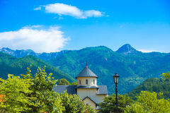 Serbian Orthodox monastery Moraca in Montenegro. Moraca Monastery is a Serbian Orthodox monastery located in the valley of the Moraca River in Kolasin, central stock photo