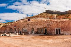 Serbian Orthodox Underground Church in Coober Pedy. Coober Pedy is renowned for its below-ground residences, called `dugouts`, which are built in this fashion stock image
