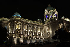 Serbian Parliament. Belgrade at night stock photos