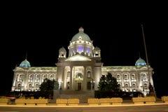Serbian parliament at night Royalty Free Stock Image