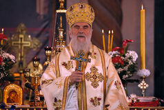 Serbian Patriarch IRINEJ-9. BELGRADE-APRIL 4:Serbian Patriarch IRINEJ with cross in hand, APRIL 4, 2010 in Belgrade, Serbia Royalty Free Stock Photo