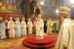 Serbian Patriarch Irinej. With bishops in church in the Sremski Karlovci town royalty free stock photos
