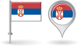 Serbian pin icon and map pointer flag. Vector Stock Image