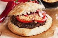 Serbian pljeskavica burger Stock Images