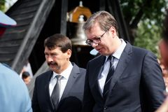 The Serbian president Aleksandar Vucic and the Hungarian preside. Nt Janos Ader are standing together in Senta town in Serbia at September 11, 2017 Stock Images