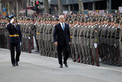 Serbian president B.Tadic observe new officers Royalty Free Stock Photo