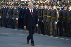 Serbian president B.Tadic observe new officers Royalty Free Stock Image
