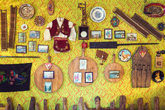 Serbian Restaurant. Cacak, Serbia - December 06, 2014: Cafe and restaurant interior, Serbian ethnic vintage design stock images