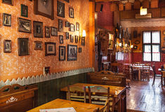 Serbian Restaurant. Cacak, Serbia - December 06, 2014: Cafe and restaurant interior, Serbian ethnic vintage design royalty free stock photo