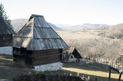 Serbian rural house. Serbian country house on sunny day royalty free stock photo