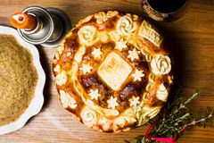 Serbian slava bread decorated in traditional style. Serbian slava bread baked and decorated in traditional style royalty free stock photography
