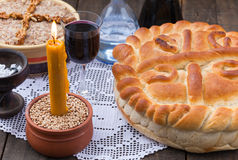 Serbian slava bread. Cooked wheat and wine royalty free stock photo