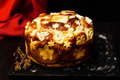 Serbian slava bread decorated in traditional style. Serbian slava bread baked and decorated in traditional style stock photo