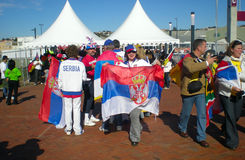 Serbian soccer fans Stock Images
