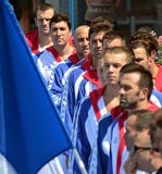Serbian team listening the national anthem. Stock Photography