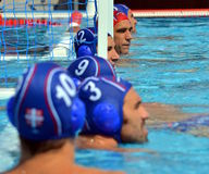 Serbian team waiting for the start at the goal line Stock Images