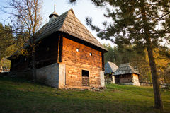 Serbian traditional house. On autumn morning royalty free stock images