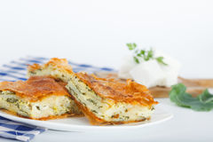 Serbian Traditional Spinach-cheese Pie slices. Plate of Freshly baked Serbian Traditional Zeljanica Spinach-cheese Pie slices stock photos