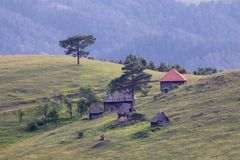 Serbian traditional village with wood house. Old Serbian traditional village with wood house in Zlatibor mountain royalty free stock image