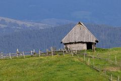 Serbian traditional wood house and fence. In Zlatibor royalty free stock photography