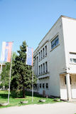 Serbian and Vovjodina's flags in a front of Vojvodina's Assembly Stock Photos