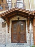 Serbian Wooden Door. In Monastery Ravanica royalty free stock photo