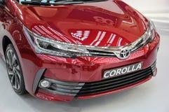 Serbien; Belgrade; April 2, 2017; främre sida av röda Toyota Coroll royaltyfri fotografi