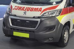 Serbien; Belgrade; Mars 24, 2018; Peugeot ambulansframdel; 5na Royaltyfria Bilder
