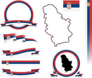 Serbien-Fahnen-Satz Lizenzfreies Stockfoto
