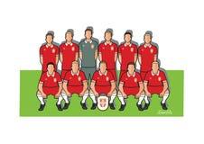 Serbien fotbollslag 2018 stock illustrationer