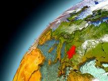 Serbien från omlopp av modellen Earth Royaltyfri Bild