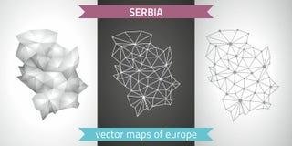 Serbien-Satz Grau und polygonale Karten des Silbermosaiks 3d Lizenzfreies Stockfoto