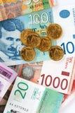 Serbische Dinare Stockfotografie