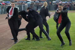 Serbische Polizeikarosserien-Abdeckungkraft in der Tätigkeit Stockfotos