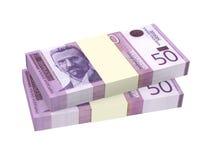 Serbischer Dinar lokalisiert auf weißem Hintergrund Stockfotos